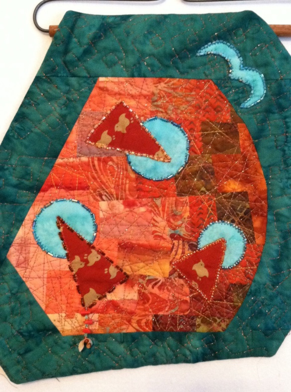 IMPROVISATIONAL ART QUILT - FUSED, BEADED, UNUSUAL SHAPE