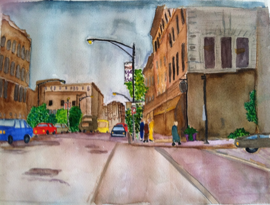 Street Scene, Downtown ChicagoWatercolor by Guila Greer, Feb 2013