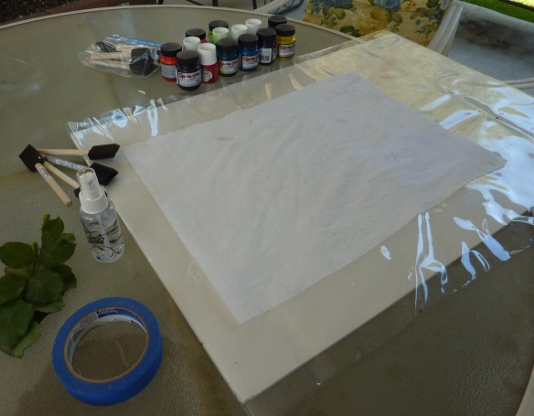 Prepared work surface and wet fabric