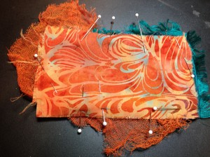 First layer enhanced by ribbon and hand dyed cheesecloth.