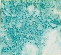 Trees blue_monoprint